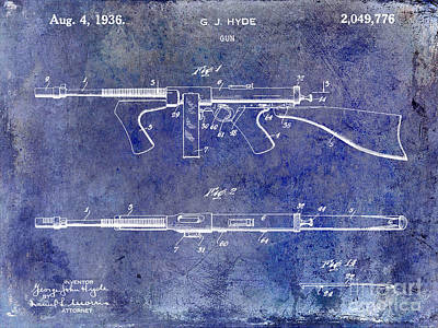 1936 Gun Patent Blue Art Print