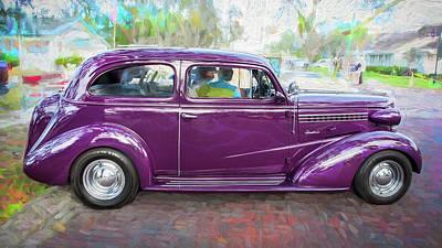 1938 Chevrolet 2 Door Sedan Deluxe C119 Bw Art Print