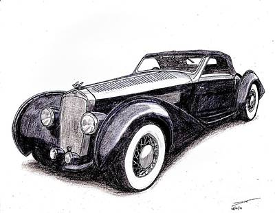 Veteran Drawing - 1938 Delage D8 120 by Dan Poll
