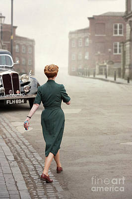 Photograph - 1940s Woman Crossing The Road by Lee Avison