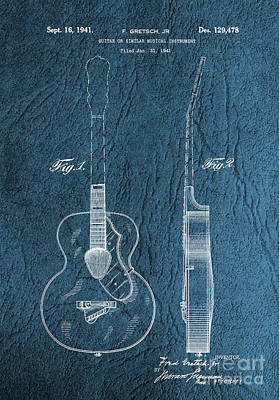 Photograph - 1941 Gretsch Guitar Patent Drawing - Vintage by Doc Braham