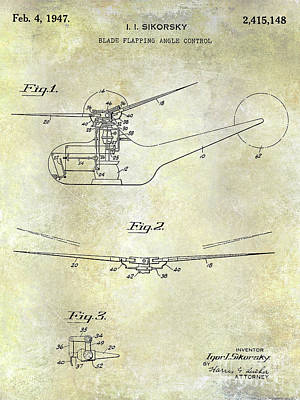 Helicopter Photograph - 1947 Helicopter Patent by Jon Neidert