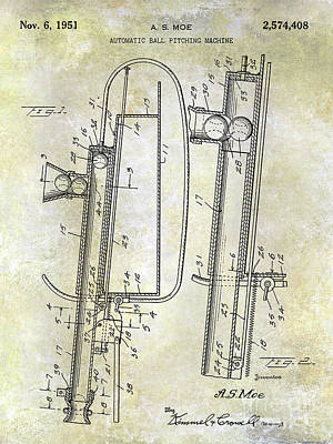 1951 Baseball Pitching Machine Patent Art Print