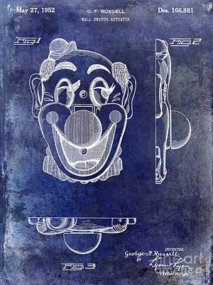 1952 Clown Light Switch Patent Blue Art Print