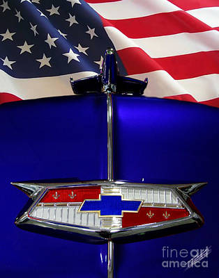 1954 Chevrolet Hood Emblem Art Print by Peter Piatt
