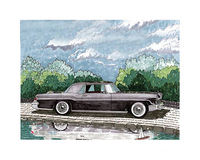 Painting - 1956  Lincoln Continental Mk II by Jack Pumphrey