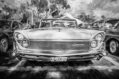 1959 Lincoln Continental Town Car Mk Iv Painted Bw Print by Rich Franco