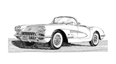 Sport Car Drawing - 1960 Corvette by Jack Pumphrey