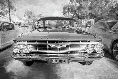 1961 Chevrolet Impala Ss Bw Art Print by Rich Franco