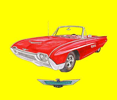 Painting - 1963 Ford Thunderbird Tee Shirt Art by Jack Pumphrey