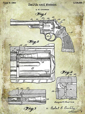Smith And Wesson Photograph - 1964 Smith And Wesson Gun Patent Two Tone by Jon Neidert