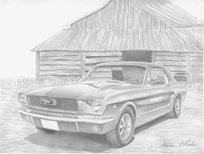1966 Ford Mustang Classic Car Art Print Print by Stephen Rooks
