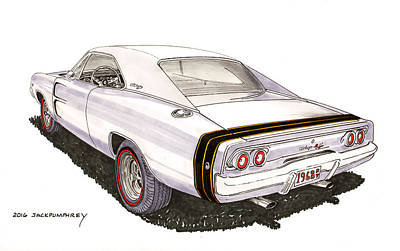 Car Art Drawing - 1968 Dodge Charger R T by Jack Pumphrey