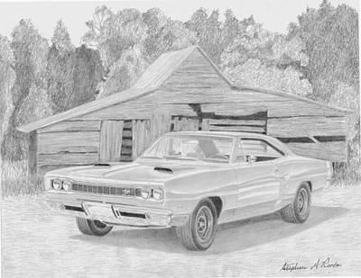 Super Cars Drawing - 1969 Dodge Super Bee Muscle Car Art Print by Stephen Rooks
