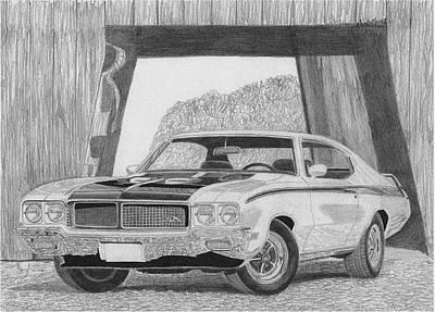 Buick Drawing - 1970 Buick Skylark Gsx Muscle Car Art Print by Stephen Rooks