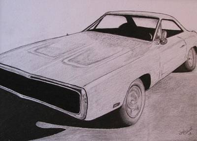 Plum Drawing - 1970 Dodge Charger by Gayle Caldwell