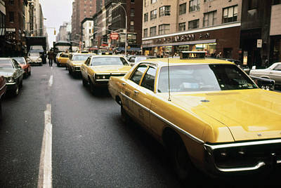 1970s America. Yellow Taxi Cabs Art Print by Everett