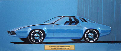 Car Art Drawing - 1974 Duster  Plymouth Vintage Styling Design Concept Sketch by John Samsen