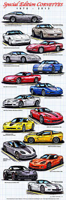 Digital Art - 1978 - 2011 Special Edition Corvettes by K Scott Teeters