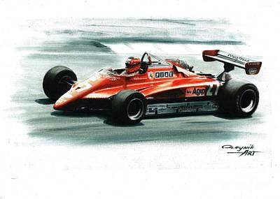 Didier Pironi Painting - 1982  Ferrari 126c2  by Artem Oleynik