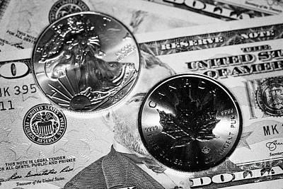 1oz Silver Bullion Coins With Us Dollars Cash Banknotes Art Print