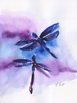 Painting - 2 Dragonflies Abstract by Frank Bright