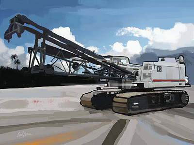 Concrete Painting - 2004 Link Belt 138h5 Lattice Boom Crawler Crane by Brad Burns