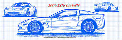 2006 Z06 Corvette Blueprint Series Art Print