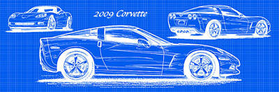 2009 C6 Corvette Blueprint Art Print
