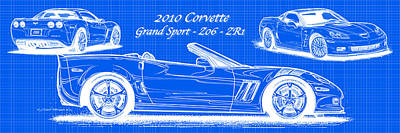 2010 Corvette Grand Sport - Z06 - Zr1 Reverse Blueprint Art Print