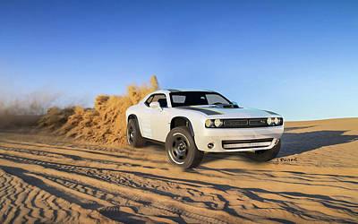 Challenger Digital Art - 2014 Dodge Challenger At Untamed Concept Wide by Anne Pool