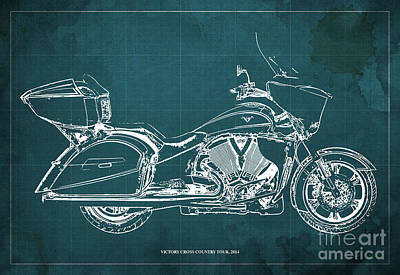 Motorcycle Digital Art - 2014 Victory Cross Country Tour Blueprint by Pablo Franchi