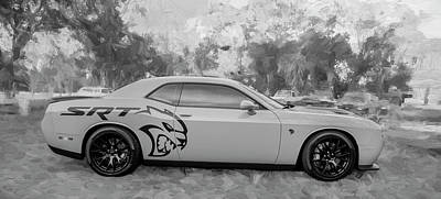Photograph - 2015 Dodge Srt Hellcat Challenger C305 Bw by Rich Franco
