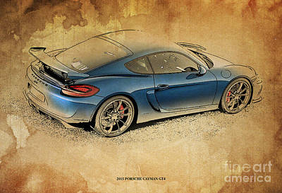 Garage Mixed Media - 2015 Porsche Cayman Gt4 by Pablo Franchi