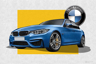 Sports Cars Photograph - 2016  B M W  M 3  Sedan With 3 D Badge  by Serge Averbukh