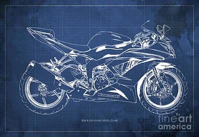 Ninja Digital Art - 2016 Kawasaki Ninja Zx-6r Red Background Gift For Men by Pablo Franchi