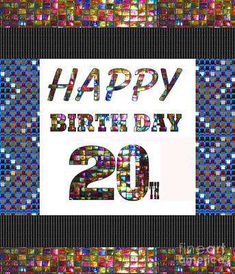 Painting - 20th Happy Birthday Greeting Cards Pillows Curtains Phone Cases Tote By Navinjoshi Fineartamerica by Navin Joshi