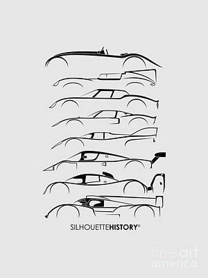 Hours Digital Art - 24 Hours Race Cars Silhouettehistory by Gabor Vida