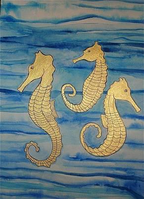 Painting - 24 Karat Seahorses by Erika Swartzkopf