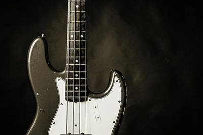 Photograph - 376.1834 Fender Red Jazz Bass Guitar In Bw by M K Miller