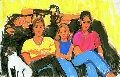 Painting - 4 Girls And A Dog by Candace Lovely