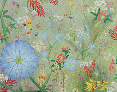 Passionflower Painting - 49 Daisies by Nancy Jane Dodge