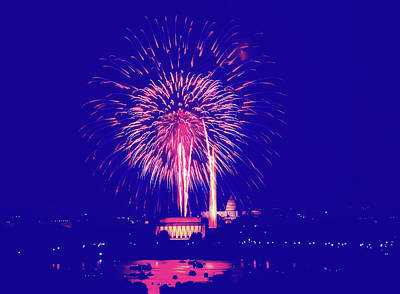 Photograph - 4th Of July Fireworks Over Washington D.c. by Library Of Congress