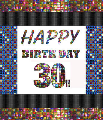 Painting - 30th Happy Birthday Greeting Cards Pillows Curtains Phone Cases Tote By Navinjoshi Fineartamerica by Navin Joshi