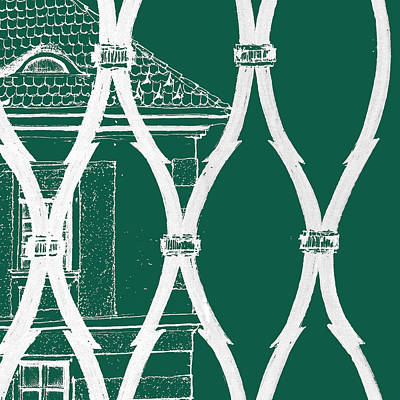Drawing - 6.8.hungary-1-detail-g-custom-fence-inverted-background-green 2 by Charlie Szoradi