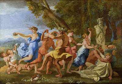 Grapes Painting - A Bacchanalian Revel Before A Term by Nicolas Poussin