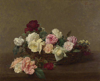 Antique Roses Vase Wall Art - Painting - A Basket Of Roses by Henri Fantin-Latour