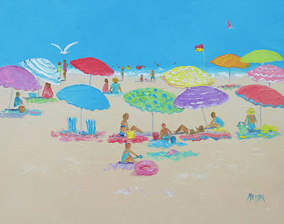 Impressionist Beach Painting - A Beach Scene by Jan Matson