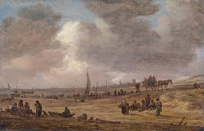 Angling Painting - A Beach With Fishing Boats by Jan van Goyen