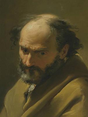 Late 18th Century Painting - A Bearded Man, Bust Length, In A Grey Cape by Ubaldo Gandolfi